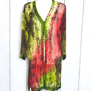 Womans Tie Dye Palm Tree Boho Swim Cover Robe